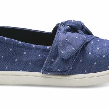 TOMS - Tiny Classics Imperial Blue Dot Chambray Bow Slip-Ons