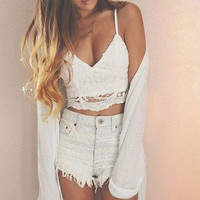 Sling V Neck Crop Top [7279392199]