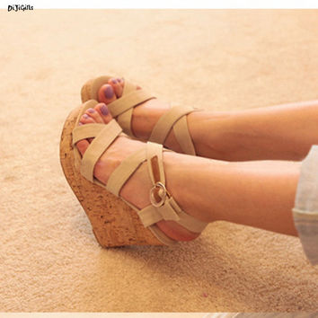 Women Ankle Strap Platform Fashion Wedges Sandals Sexy High Heels Plus Size Party Shoes Pumps for Summer hh633-1
