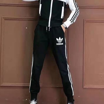 """""""Adidas"""" Woman's Leisure Fashion Letter Clover  Printing Zipper Spell Color Long Sleeve Tops Trousers Two-Piece Set Casual Wear Sportswear"""