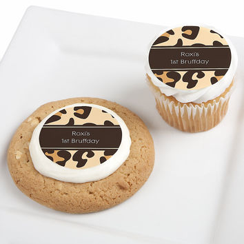 Leopard - Personalized Dog Party Edible Cupcake Toppers - 12 ct