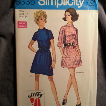 Uncut 1960's Simplicity Sewing Pattern, 8335! Size 12 Bust 34 Medium/Women's/Misses/Stand-up Collared Dress/Raglan Sleeves/Patch Pockets