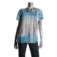 Style & Co. Womens Tie-Dye Scoop Neck Casual Top