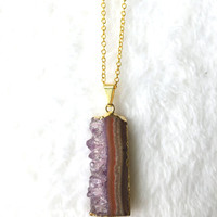 Amethyst Necklace, Amethyst Druzy Slice Necklace, Purple Gemstone Necklace, Raw Amethyst Pendant, Stalactite Necklace on Gold Chain