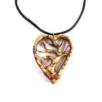 Wood Pendant Necklace, WoodenTree of Life Pendant, Wood Jewelry, Wood Tree of Life Necklace, Wooden Heart Pendant, Wood Hand Carved Pendant