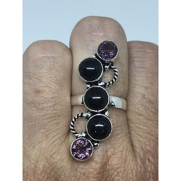 Vintage Large Black Sandstone and Amethyst stone silver ring