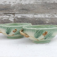 2 Majolica Pottery Bowls with Tree Branch Handles, Vintage Acorn and Leaf Planters, Autumn Home Decor, Fall Display