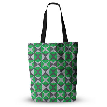 "Empire Ruhl ""Silver and Green Abstract"" Green Black Everything Tote Bag"