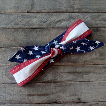 American Flag Skinny Headband Stars and Stripes Teen Women Fourth of July Hair Accessory Memorial Day