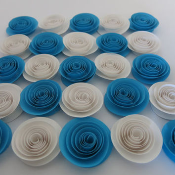 "White & Aqua Blue paper flowers, Party Table Decorations, 25 roses set 1.5"" flowers, Winter wedding decor, Ice princess party, bridal shower"