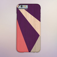 Geometric Maroon x Peach x Wood Case for iPhone 6 6+ iPhone 5 5S 5C iPhone 4 4S and Samsung Galaxy S5 S4 & S3