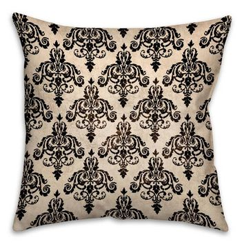 Damask 16-Inch Square Throw Pillow in Black/White