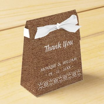 Rustic Calligraphy Ornate Burlap Wedding Thank You Favor Boxes