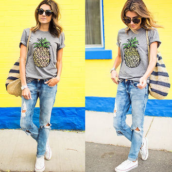 Print Pineapple Casual Tee [7279135175]