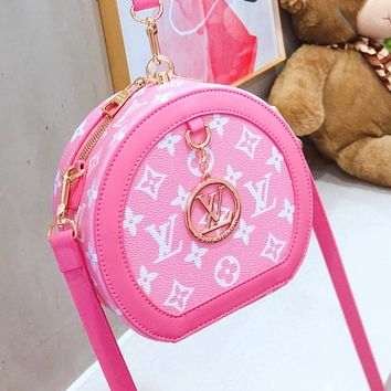 LV Bag Louis Vuitton new mini round cake bag Shoulder bag Pink