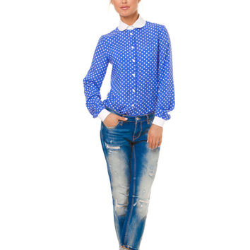 Bright Blue Cotton Blouse,Polka Dot Blouse,Contrast Color,Summer Fashion,Blue and White,Office Fashion