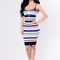 Pride Aside Dress - Royal Stripe