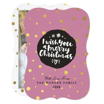 Pink Gold Polka Dots Merry Christmas Script Photo Card