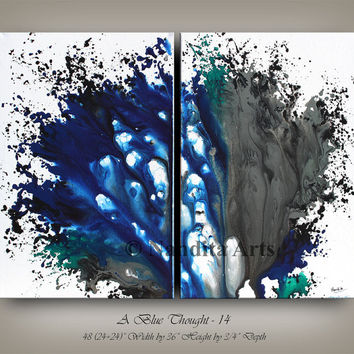 SURREAL PAINTING, Blue and Gray Acrylic painting on canvas, Modern Art, LARGE Home Decor or Living Room Contemporary Art, Abstract Painting