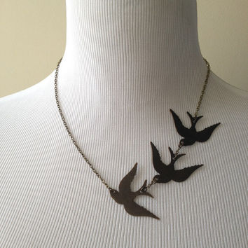 These Three Birds Necklace II - Divergent Inspired Necklace - Made to Order - Tris Prior Inspired Necklace - Three Ravens Necklace