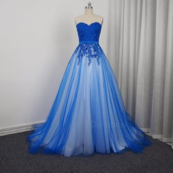 Sweetheart Blue Prom Dresses A line Tulle Full Lining Lace Appliqued Beaded Party Dresses Special Occasion