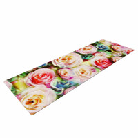 "Dawid Roc ""Pastel Rose Romantic Gifts"" Green Photography Yoga Mat"