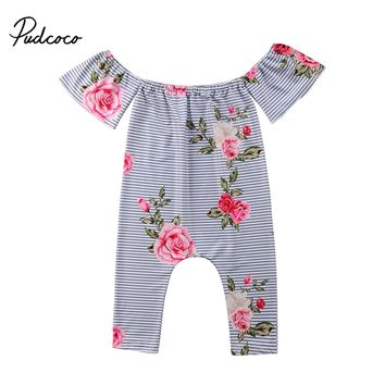 2018 Brand New Newborn Baby Girl Off-shoulder Stripe Romper Rose Flower Jumpsuit Outfits Clothes Children Summer Clothing 0-3T