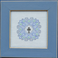 Hand Stitched Celtic Cross - Sweetheart Tree Sampler - Blackwork Style -  Framed Picture