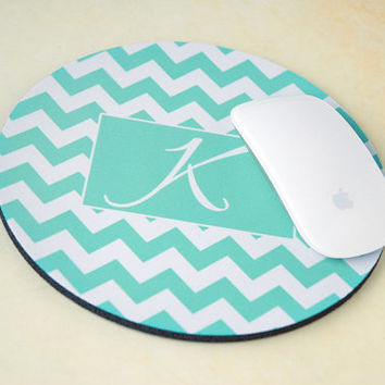Monogram Mousepad, Custom Mousepad, Personalized Mousepad, Computer Mouse Pad, Chevron Mouse Pad, Round Mouse Pad