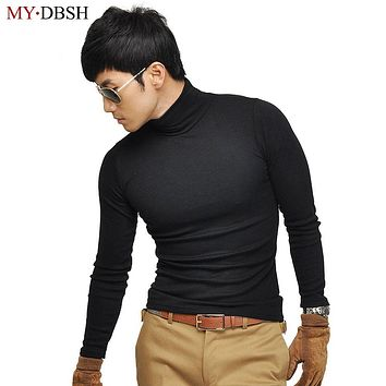 2018 Fashion Mens turtleneck high-elastic T Shirts Spring Autumn Turtle Neck T Shirt Brand Warm Autumn Men's Long Sleeve T Shirt