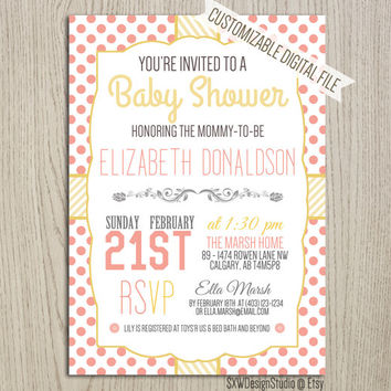 Pink and Yellow Polkadot Baby Shower Invitation - Bridal Shower Party Dots Print Elegant Cute Professional Pretty - Printable DIY (002)