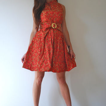 ON SALE Vintage 50s 60s Red Paisley Dress