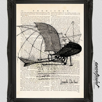 The Flying Machine by Leonardo da Vinci Antique Art Print on an Unframed Upcycled Bookpage