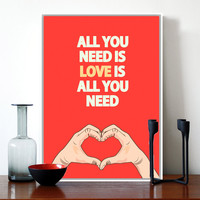 Modern Red Love Quotes Inspirational Typography Hand Drawing A4 Poster Print Hippie Canvas Painting Nordic Bedroom Wall Art Gift