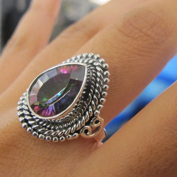 Mystic Topaz Ring, Sterling Silver Ring , Gemstone Ring