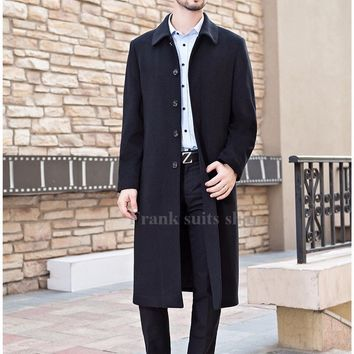 Custom made Single Breasted Wool Coats Turn-down Collar Men's Woolen Coat New 2017 Winter Jackets Design Overcoat