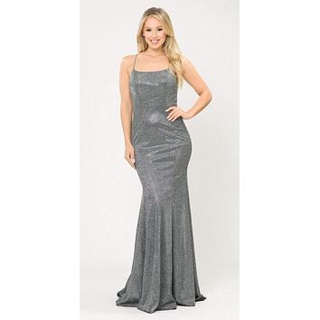 Lace-Up Back Silver/Black Long Prom Dress