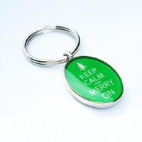 Keep Calm and Merry On |Christmas Key Ring | Christmas Stocking Stuffer | Christmas Gift