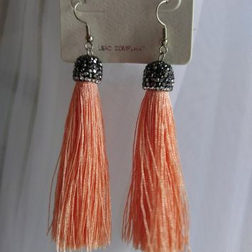Tread Tassel Earrings - Tangerine