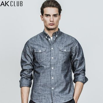 Men Casual Shirt Denim Blue Long Sleeve Shirt Cotton Vintage Style Work Wear Contrast Color Shirt