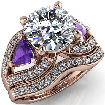 Kassandra Round Moissanite 4 Prong Trillion Amethyst Side Split Shank Accent Engagement Ring
