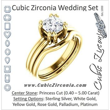CZ Wedding Set, featuring The Marnie engagement ring (Customizable Princess Cut Solitaire with Grooved Band)
