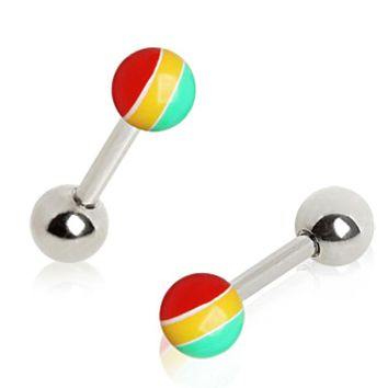 316L Surgical Steel Cartilage Earring with Rasta UV Ball