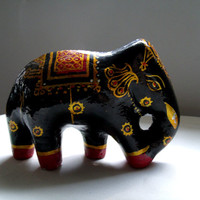 Hand Painted Wooden Elephant Figurine - Made in India