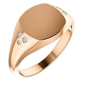 Diamond Closed Back Signet Ring, 10k Rose Gold (.05 Ctw G-H Color SI2-SI3 Clarity) Size  6-8