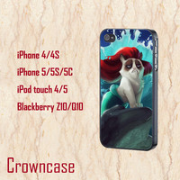 ipod 5 case,ipod 4 case,iphone 5s case,iphone 5c case,iphone 5 case,iphone 4 case,z10 case,blackberry q10 case-funny cat mermaid,in plastic.