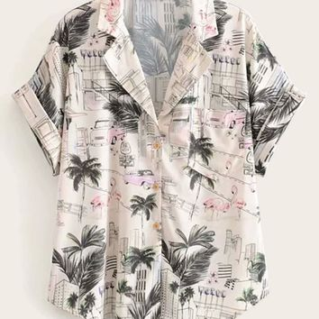 Tropical And Flamingo Print Curved Hem Blouse