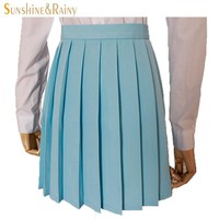 Japanese 2017 new brand girls skirts pleated schoolgirls skirt uniforms cos macarons waist solid pleated skirt multicolor female