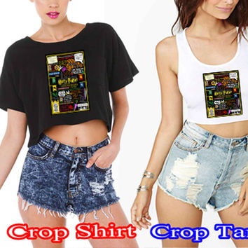 Harry Potter Collage Quote Book Ramayani face3565-e722-4d8c-856e-74a5b6bd2415 For Crop Shirt and Crop Tank Sexy Shirt Women S, M, L, XL, 2XL*02*