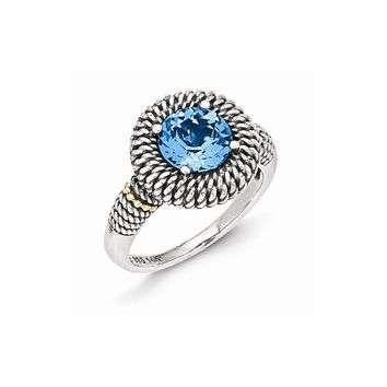Sterling Silver w/14k Gold Antiqued Light Swiss Blue Topaz Ring